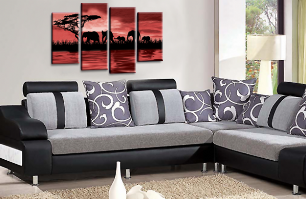 Sunset Elephant Canvas Wall Art Picture Red Brown Cream